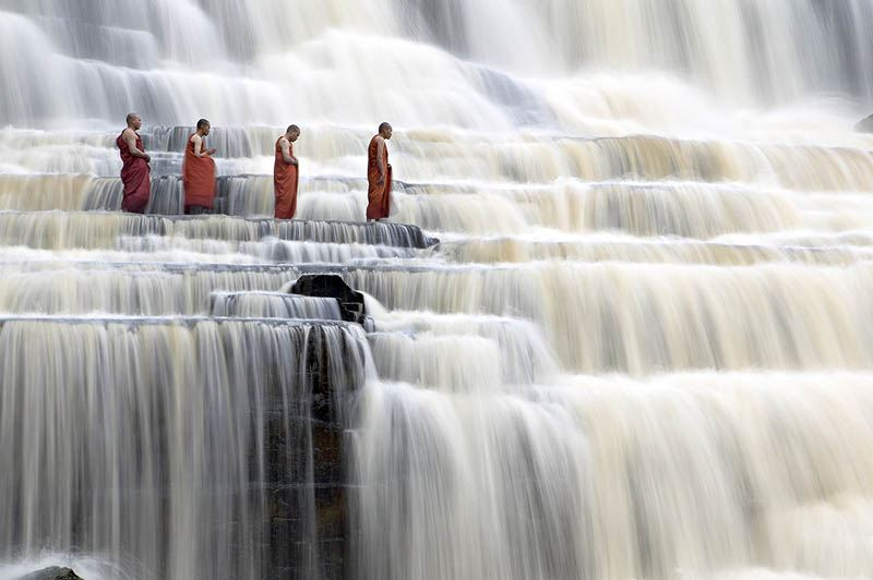 Meditating Monks at Pongour Falls