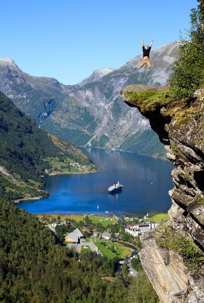 The Famous Rock In Norway On The Edge Of The 307m Drop