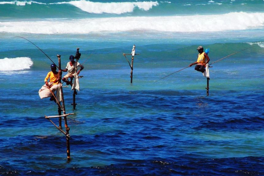 Amazing world customs, stilt fishing