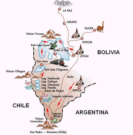Map of Salar De Uyuni, Bolivia