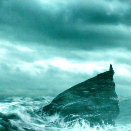 The sea cave to which Dumbledore takes Harry