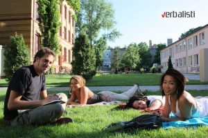 Verbalists students in the GLS campus garden