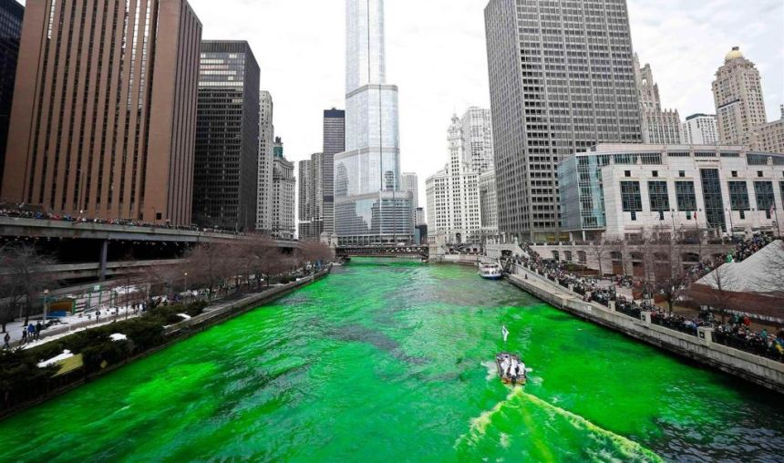 The Chicago River was turned green as part of annual St. Patrick's Day celebrations in the US