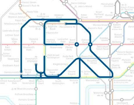 animal shapes in the London Underground map