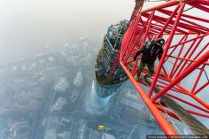 Vitaliy Raskalov scaling the tallest building in China – the Shanghai Tower