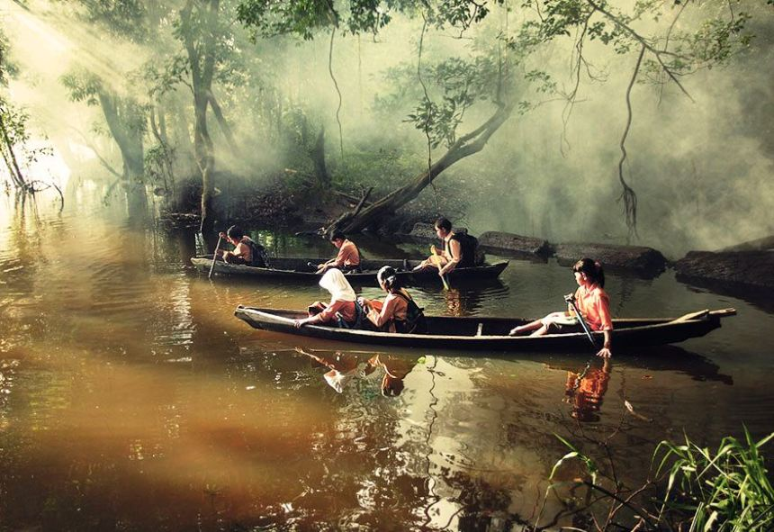 Pupils Canoeing To School, Riau, Indonesia