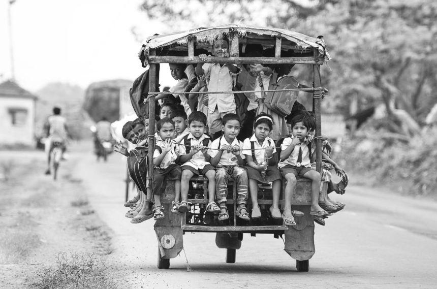 Riding a Tuktuk (Auto Rickshaw) To School In Beldanga, India