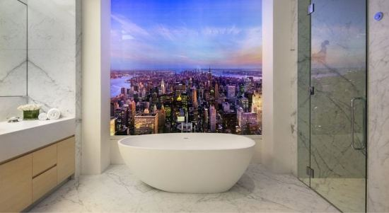 What a $95-Million View Looks Like at Manhattan's 432 Park Avenue from the bathtub