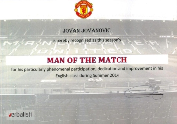 Jovan Jovanovic is Man of the match, Manchester United Soccer School