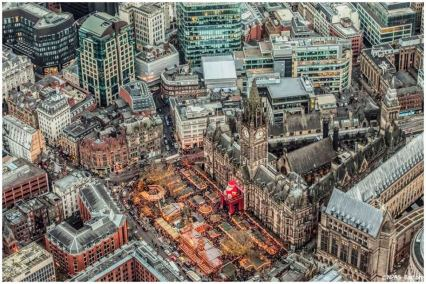 Manchester Christmas Markets from a helicopter