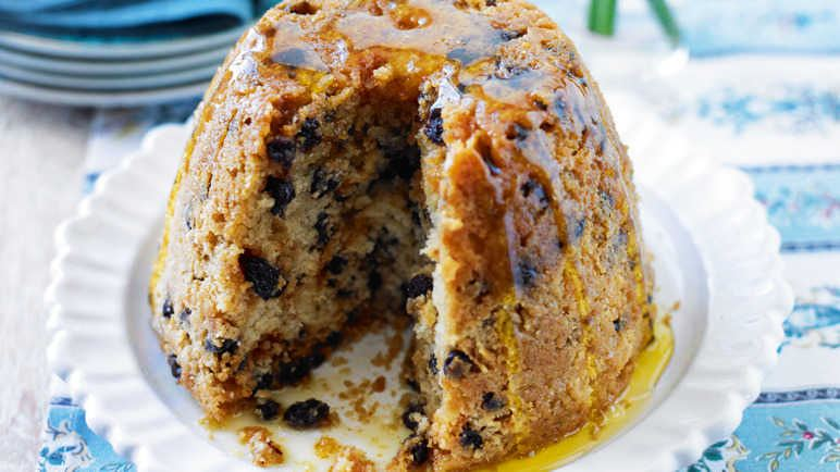 Spotted dick English pudding