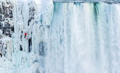 The historic ice climb of Niagara Falls