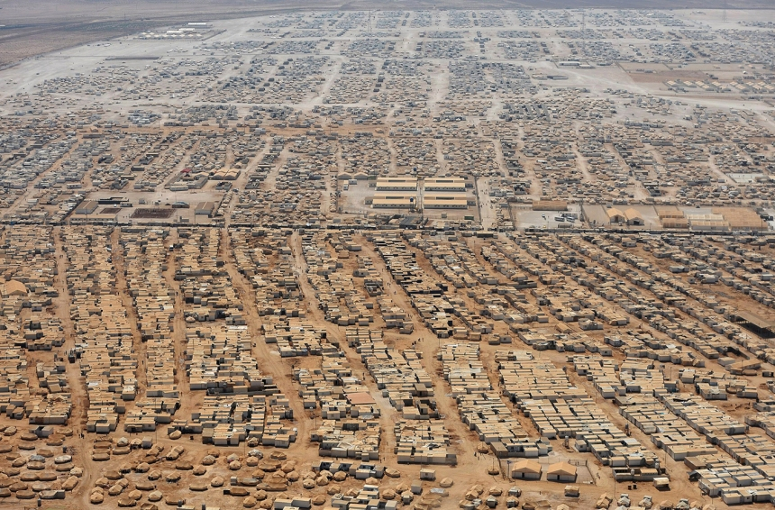 Syrian refugee camp near the Jordan-Syria border