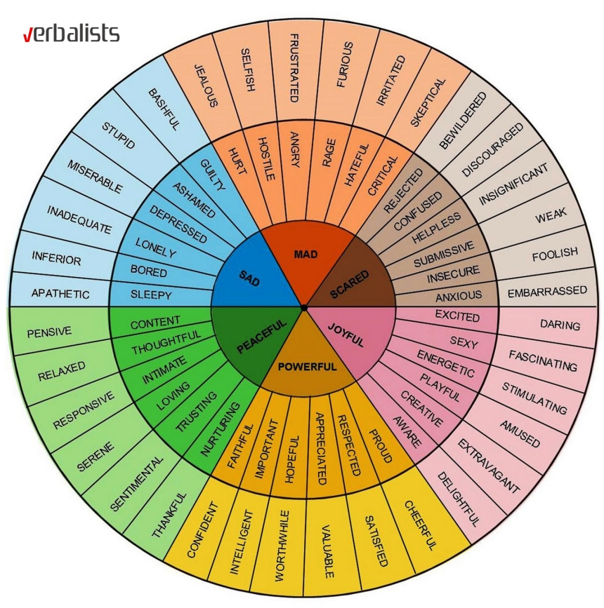 The language and vocabulary wheel for feelings, Verbalists