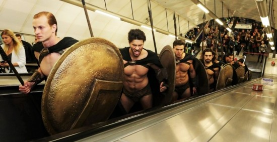 300 Spartans in London underground