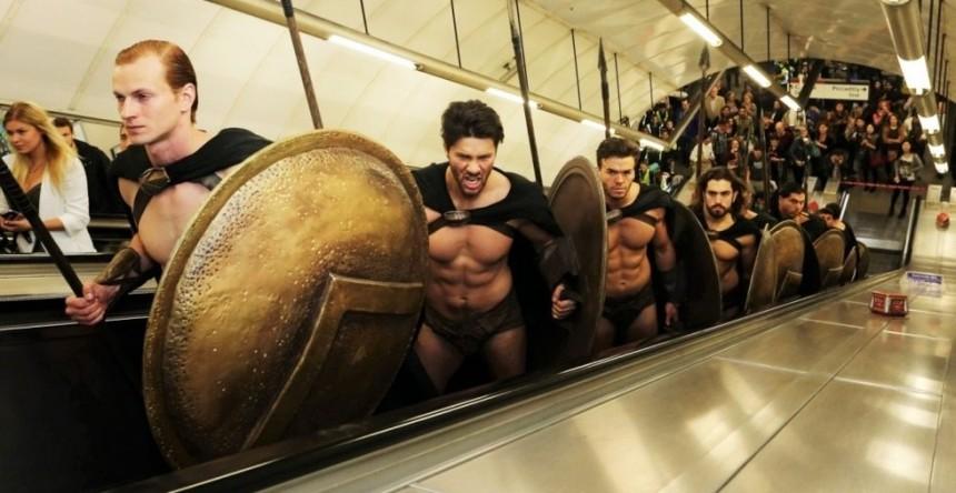 300 Spartans in London underground