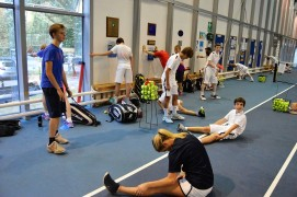 Nike Tennis Academy in the UK, young players warming up, Verbalists