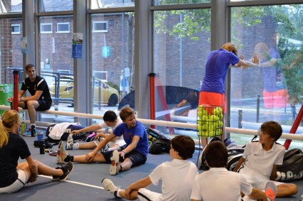 Nike Tennis Academy in the UK, young players warming up